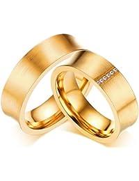 KNSAM - Anillos para socios de acero inoxidable para ella y él, anillos de boda