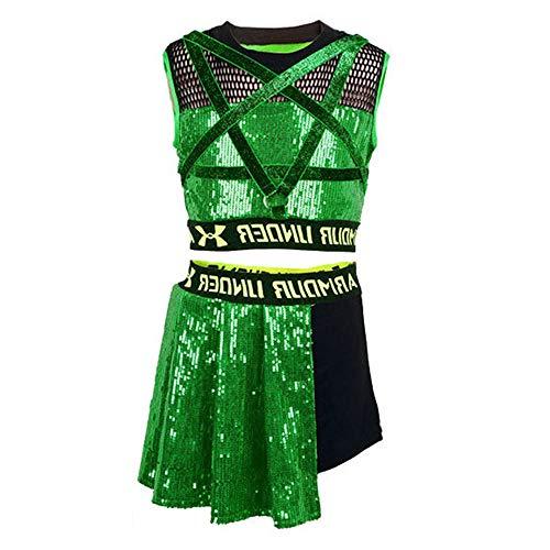 unbrand Mädchen 2 Stück Gymnastik Sport Kostüm Hip Hop Dancewear ärmelloses Trägershirt Kleid Leistung für Ballett-Training