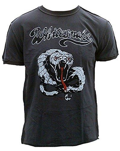 Amplified T-shirt da uomo grigio charcoal Official Whitesnake Snake Weisse Schlage Vintage Rock Star Design Grau XXL