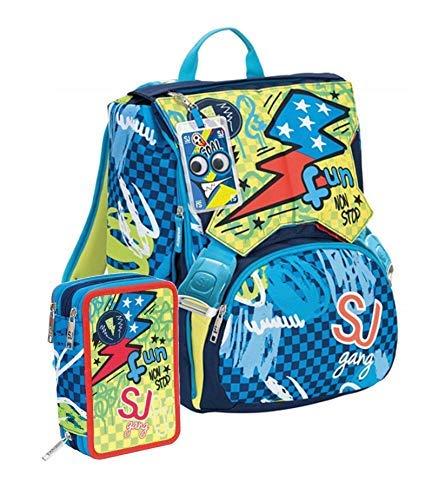 Schoolpack zaino scuola seven sj gang boy estensibile blu + astuccio 3 zip