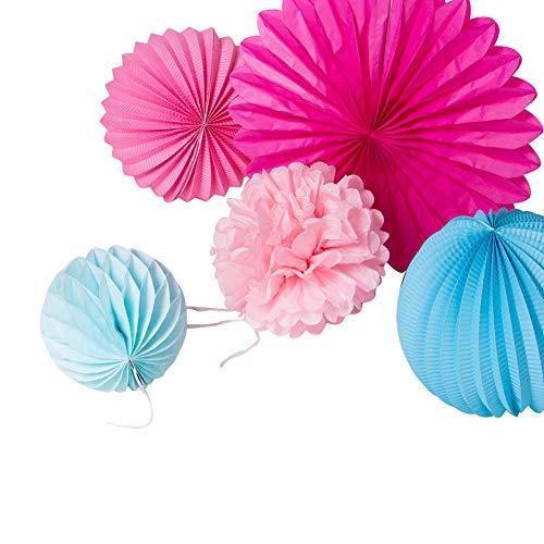 SUNBEAUTY 7er Set Rosa Pink Blau Kombination Feier Dekoration - 3