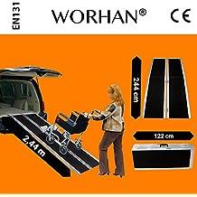 WORHAN® 2.44m Rampa Plegable Carga Silla de Ruedas Discapacitado Movilidad Aluminio Modelo de Alta Adherencia R8J
