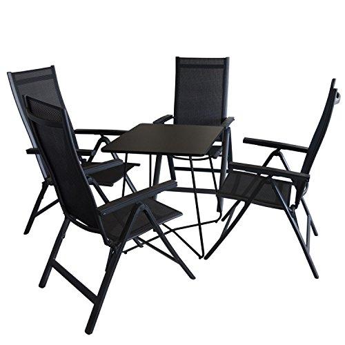 5tlg. Balkonmöbel Set Bistrotisch, Metall, 60x60cm, Schwarz + 4x ...