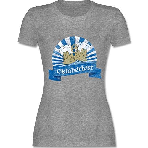 Oktoberfest Damen - Bierkrüge Vintage - tailliertes Premium T-Shirt mit Rundhalsausschnitt für Damen Grau Meliert