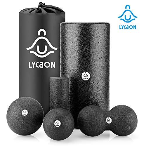 LYCAON Faszienrolle Foam Roller Set 6Pcs für Tiefe Muskelmassage, Trainingsset mit Hoher Dichte für die Myofascial Release/Pilates/Yoga/Cross Fit/Fitness