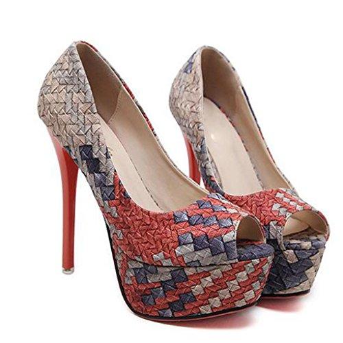 W&LM Signorina Tacchi alti sandali Piattaforma impermeabile Tacchi alti Giocare a colori Scarpa Ok Bocca di pesce Bocca poco profonda sandali Red