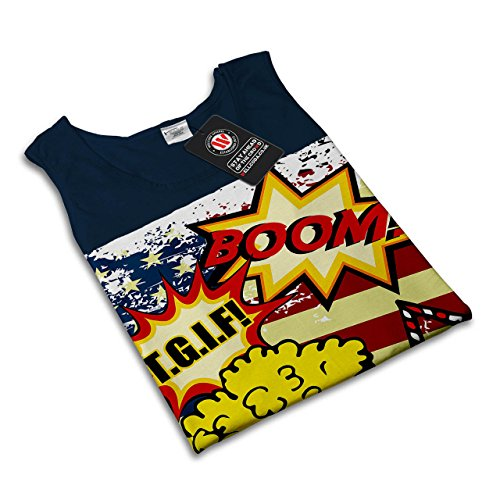 Popcorn Flagge Bundesland USA USA Pop Kunst Damen S-2XL Muskelshirt | Wellcoda Marine