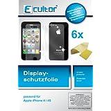 6X Apple Iphone 4 + Iphone 4S Displayschutzfolie kristallklar ORIGINAL Premium Qualität 4x Schutzfolie für die Vorderseite und 2x Schutzfolie für die Rückseite