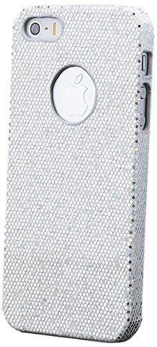 iCues Apple iPhone SE / 5S / 5 |  Glitzer Case Türkis | [Display Schutzfolie Inklusive] Strass Glitzer Glitter Luxus Bling Damen Frauen Mädchen Schutzhülle Hülle Cover Schutz Silber