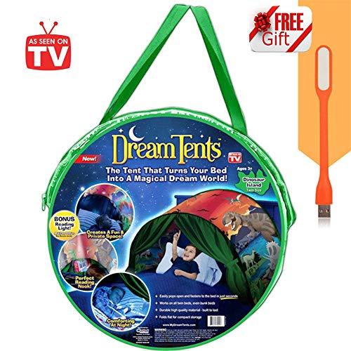 Tente de Lit Enfant Dream Tents - Tente de Rêve Tente Playhouse de Tente Apparaitre Intérieure Enfant Jouer Tentes Cadeaux de Noël pour Garcon Fille (Parc de dinosaures)