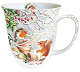 Kaffeebecher Becher Mug 'Winter Picture' 0,4l Porzellan Bone China Geschenk Weihnachten Präsent Winter