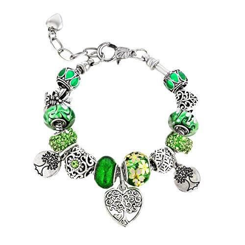 majesto–Family Tree Charm-Armbänder grün Perlen–Teen Mädchen Frauen Geschenke verstellbar passt 15,2–21,6cm Draht-armband-charms