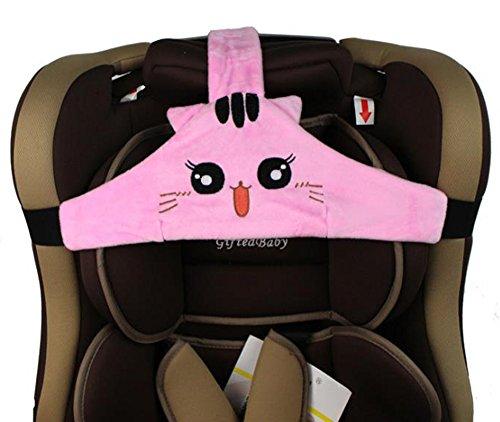 MINGZE Soporte de cabeza de asiento de coche de bebé niño, posicionador de sueño seguro y acogedor de coche, cinturón de sujeción de asiento de seguridad ajustable, cinturón de seguridad (Rosa)