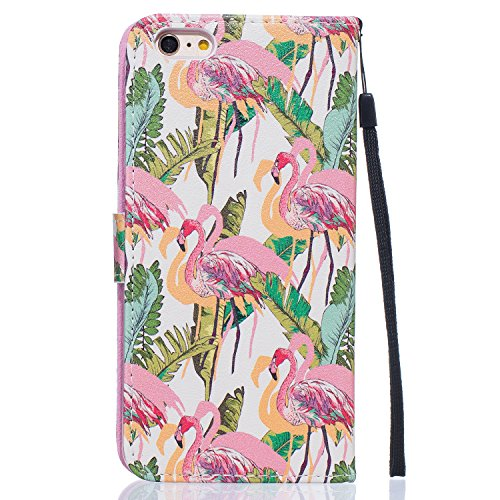 iPhone 6 Plus Hülle,iPhone 6 Plus Tasche,iPhone 6s Plus Hülle, iPhone 6 Plus iPhone 6S Plus Leder Cover,Cozy Hut PU Leder Hülle für iPhone 6 6S Plus Ledertasche Schutzhülle Case[Stand Feature] Flip Ca Flamingos