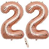 """2 Numero di Palloncini 22,Numero 22 Compleanno Decorazione Oro Rosa Ragazza,40"""" Palloncino a Foglio di Elio Gonfiabile,Happy Birthday Party Palloncino Gigante Prom Festa Party(XXXL 100cm)"""
