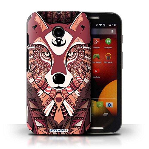 Kobalt® Imprimé Etui / Coque pour Motorola Moto E (2014) / Loup-Couleur conception / Série Motif Animaux Aztec Loup-Rouge