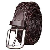 Cinture Fatte A Mano Intrecciate Cintura In Pelle Con Fibbia Ad Ardiglione In Lega Leggera Cintura Da Uomo Casual Per Uomo,Coffee-110cm