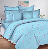 #10: Ahmedabad Cotton Comfort 144 TC Cotton Double Bedsheet with 2 Pillow Covers - Blue and Pink