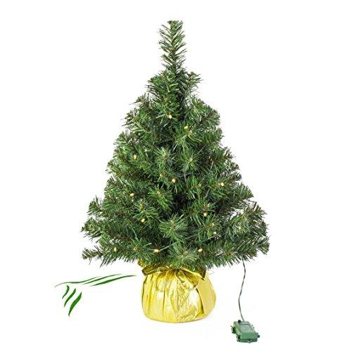 Mini albero di Natale artificiale VARSAVIA con LED, dorato, 60 cm, Ø 40 cm-Albero di natale piccolo / Albero con luci - artplants