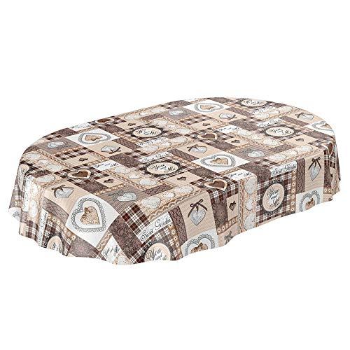 Anro - tovaglia cerata con cuori, patchwork e pizzo, asciugamani, schnittkante, oval 140 x 180cm