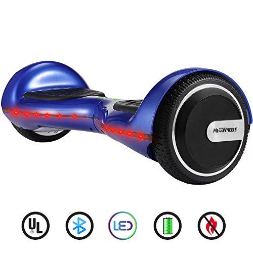 "M MEGAWHEELS 6.5"" Patin Electrico Con Bluetooth, Led luces, Gratis Bolsa (Blue)"