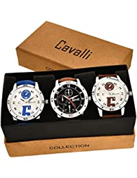 Cavalli Analogue Multi-Colour Dial Men'S And Boy'S Watch-Combo Of 3 Exclusive Watches-CW298