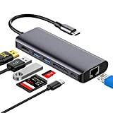 Hotott USB C Hub, Tipo C 7 in 1 Adattatore USB C con HDMI 4K, 2 Porte USB 3.0, 1 Slot per schede SD/TF, 1000M Ethernet USB C Porta di Alimentazione PD (87W) per MacBook PRO/Air Chromebook Samsung S10