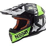 LS2 MX437 Casque de Motocross pour Scooter Chopper Quad VTT Casque de Moto Homme et Femme Intégral ECE Homologué Vert Noir XXS (51-52cm)