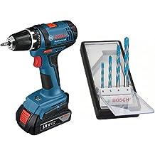 Bosch GSR 18-2-LI - Taladro (Ión de litio, 18V, 1.5 Ah, 16.9 cm, 19.7 cm, 1.3 kg) Negro, Azul + Juego de 4 brocas multiuso Robust Line CYL-9 multi construction, 4; 5; 6; 8 mm