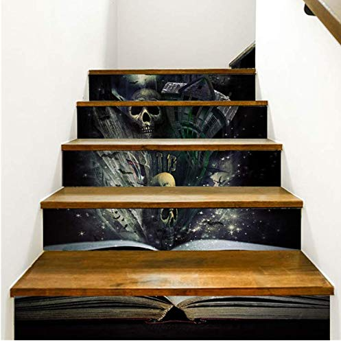 ber Treppenhaus Aufkleber Halloween Treppenhaus Aufkleber Boden Wandtattoo Aufkleber Wohnzimmer Dekoration 3D Diy Pvc (100 * 18cm)*6pcs ()