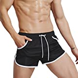 QinMM Männer Breathable Badehose Hosen Badebekleidung Shorts Slim Wear Bikini Badeanzug (Asian Size:M, Schwarz)