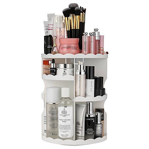 Makeup Organiser, Jerrybox 360-Degree Rotating Adjustable Multi-Function Cosmetic 4 Layers Storage Box, Lace side,White