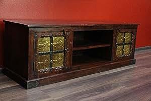 Commode, meuble tV style ancien, en bois massif, éléphants, inde, 151 cm