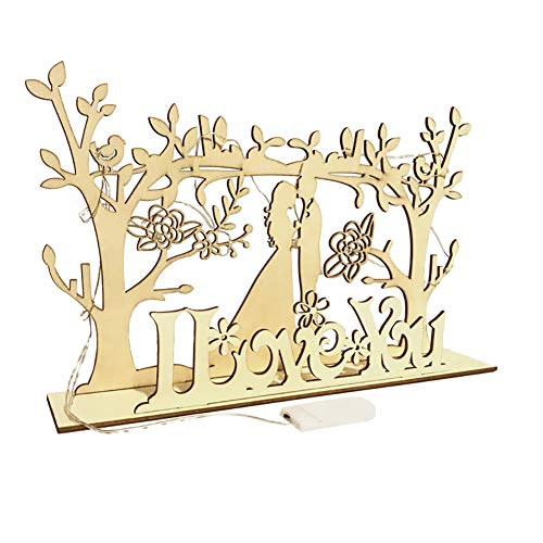 Xeples Wedding Hölzerne LED Countdown Hochzeit Ornament Briefdekoration 1 Set Mr & Mrs Zeichen (Mr Und Mrs Hochzeit Tisch Zeichen)