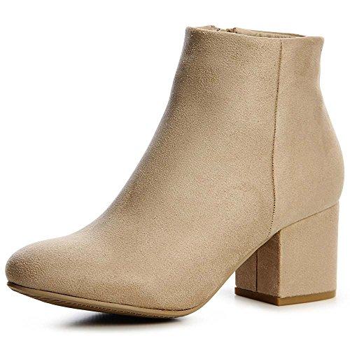 topschuhe24 1510 Damen Velours Stiefeletten Ankle Boots Schleife Fransen, Farbe:Beige, Größe:39 EU -