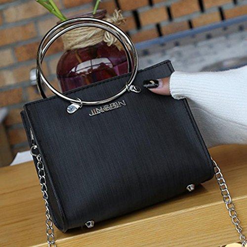 Bzline® 2pc Moda Donna Catene Borsa A Tracolla Con Portafoglio Nero