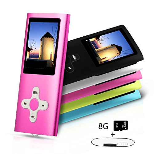 Btopllc MP3 / MP4 Player MP3 8GB Card Reader Hi-Fi Music Player Portable 1.7 inch LCD MP3 / MP4 Player Media Player with Mini USB Port USB Cable / MP3 Music Player Voice Recorder Media Player - Pink