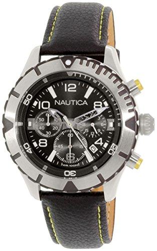 Nautica nad20504g del Hombre Negro Piel Cuarzo Reloj