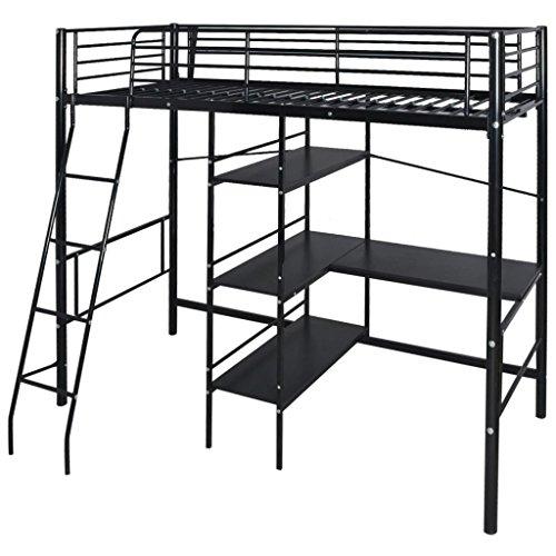 Festnight- Kinder Hochbett mit Schreibtisch und Leiter in Metall 200x90 cm   Kinderbett Stockbett schwarz - Schreibtisch Schwarz Leiter