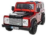 Kinder-Elektroauto Land Rover Defender, Rot Lackiert, Original-lizenzierte, batteriebetriebene, 2x Motor, 12-V-Batterie, Fernsteuerung, Soft-EVA-Räder
