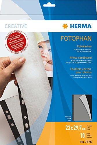 Herma 7576 Fotophan Fotokarton schwarz (230 x 297 mm) 10 Blatt, mit Schutzblatt u. Eurolochung, beidseitig gestaltbar, für alle Herma Ringalben und Foto-Ordner