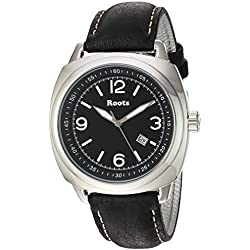 Roots Men's 'Core' Quartz Stainless Steel and Leather Casual Watch, Color:Black (Model: 1R-PR100BA3B)