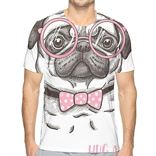 Cute Pet Dog with Pink Bow Tie Oversized Glasses Hand Drawn Domesticated XL ()