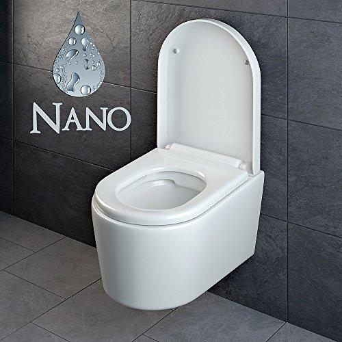 Design Wand Hänge WC ohne Spülrand Spülrandlos Toilette Sitz Softclose hängend 6 - 2