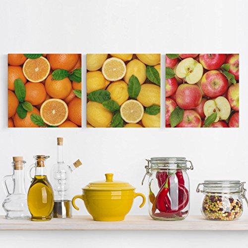 Bilderwelten Leinwandbild 3-teilig - Früchte Trio - Quadrate 1:1 Leinwand XXL Leinwanddruck Wandbild, Größe HxB: 3x 60x60cm (Extra Quadrate Zitrone)