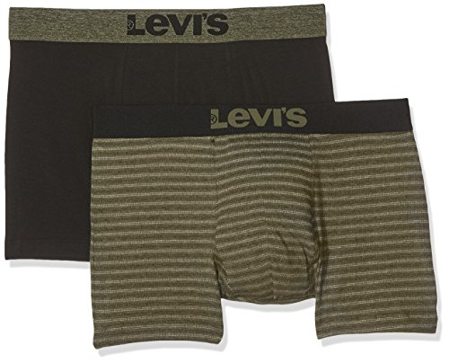 2p Shorts (Levi's Herren Shorts Levis 200SF Birdfeet Stripe Boxer Brief 2P, 2er Pack, Mehrfarbig (Olive Green / Black 574), Medium)
