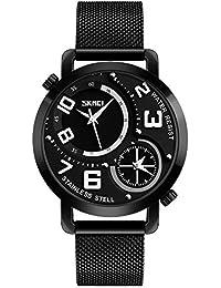 03a902848cb3 Skmei 9168 Hombres Cuarzo Doble Tiempo Mostrar Impermeable de Acero  Inoxidable Relojes Hombre Reloj Relogio Masculino