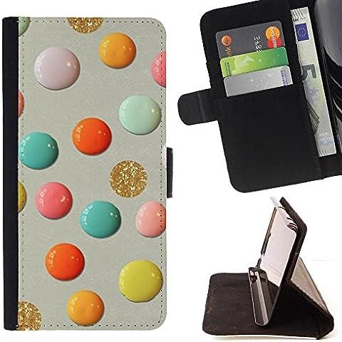 For HTC One A9 Case , Glitter oro della vernice carta del mestiere Pois - Portafoglio in pelle della Carta di Credito fessure PU Holster Cover in pelle