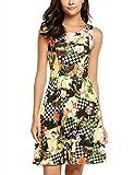 Bricnat Damen Vintage Sommerkleid Ärmelloses Blumenmuster Strandkleid Beiläufiges Tank Ausgestelltes Kleid Traeger mit Flatterndem