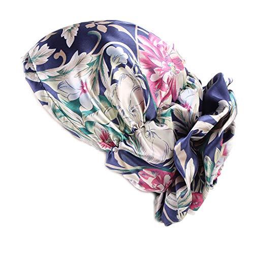 JERKKY Womens Imitation Silk Satin muslimischen indischen Turban Hut Vintage Floral Plissee Stretch Haarausfall Chemo Cap Beanie Headwrap Navy -